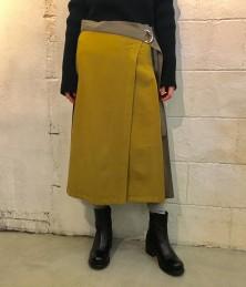 Pleated wrap skirt