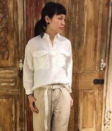 Solid color Tencel linen shirt