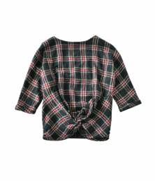 Tartan check×black blouse
