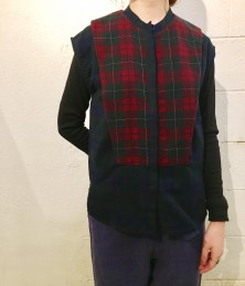 French sleeve check blouse