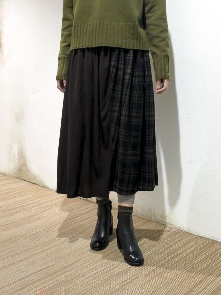 Muzi × Check Gather Skirt