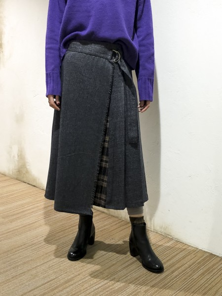 Check pleat wrap skirt