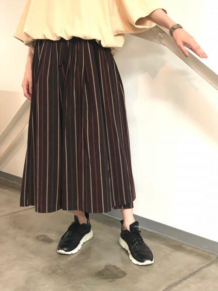 Striped gathered skirt