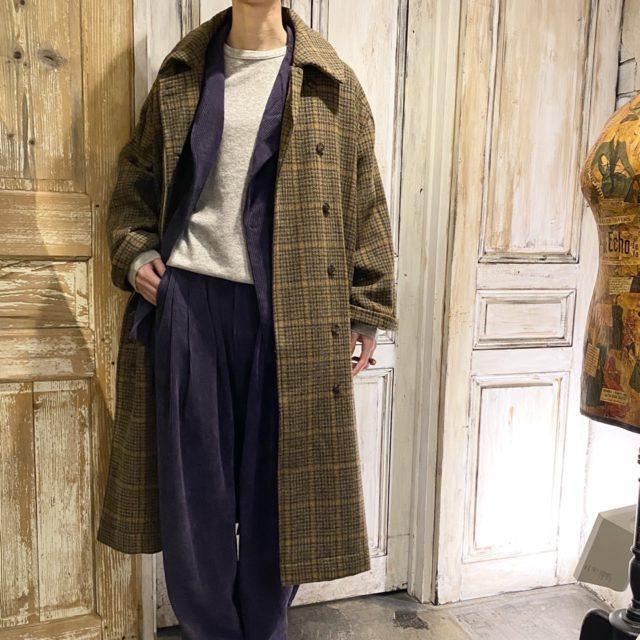 Glen check long coat