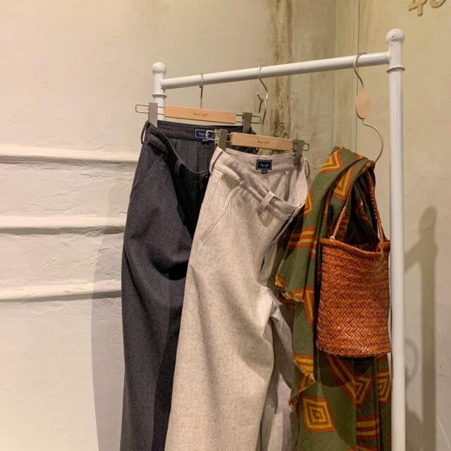 Mixed wool wide pants