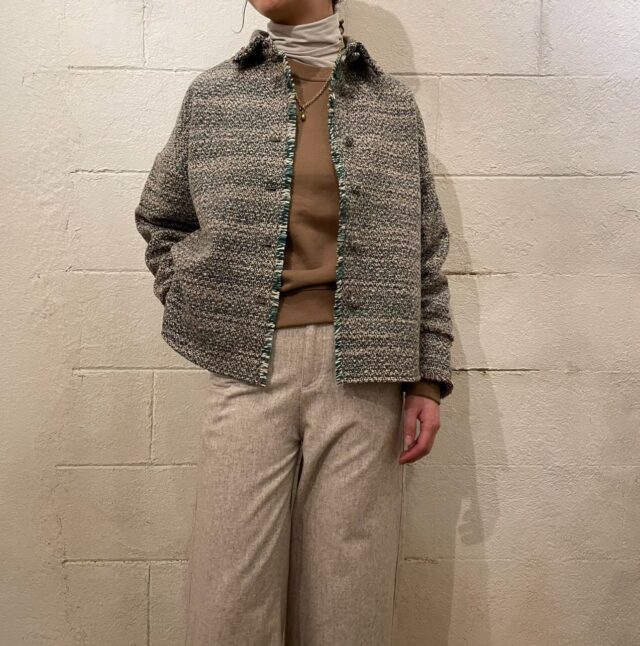 Tweed cut-off jacket