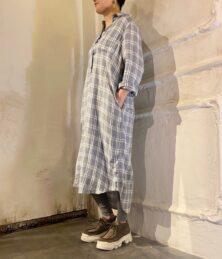 Linen check shirt dress